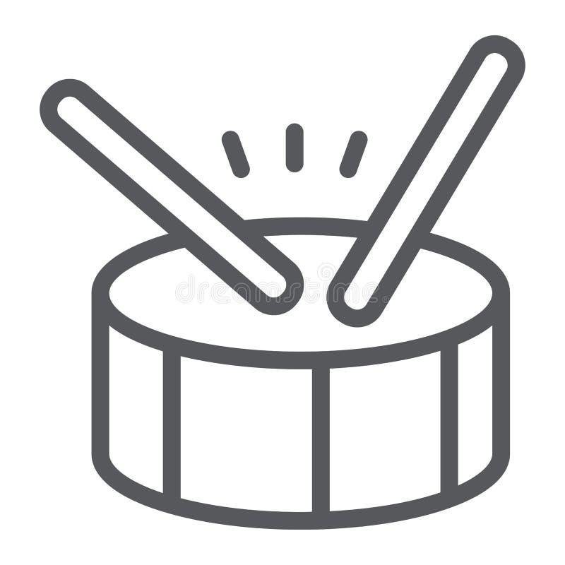 Linea icona del tamburo, musica e battito, segno dello strumento di percussione, grafica vettoriale, un modello lineare su un fon royalty illustrazione gratis