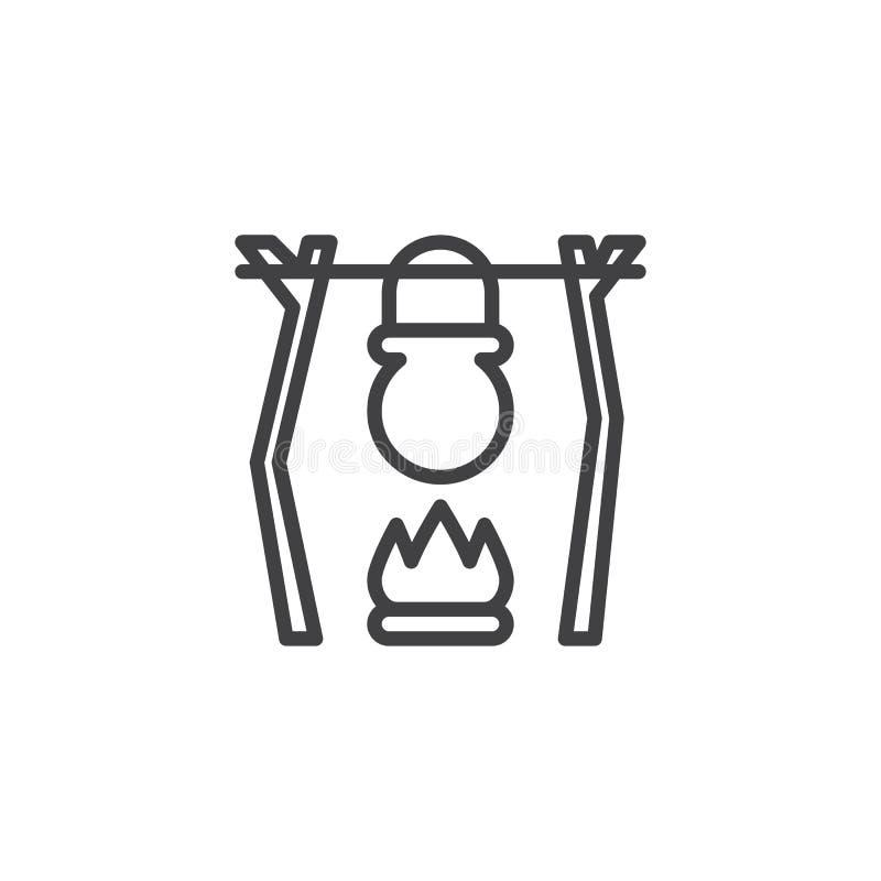 Linea icona del vaso e del fal? di campeggio illustrazione vettoriale