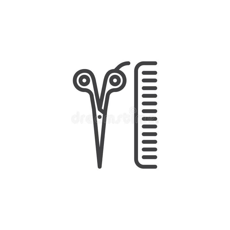 Linea icona dell'attrezzatura del negozio di barbiere royalty illustrazione gratis