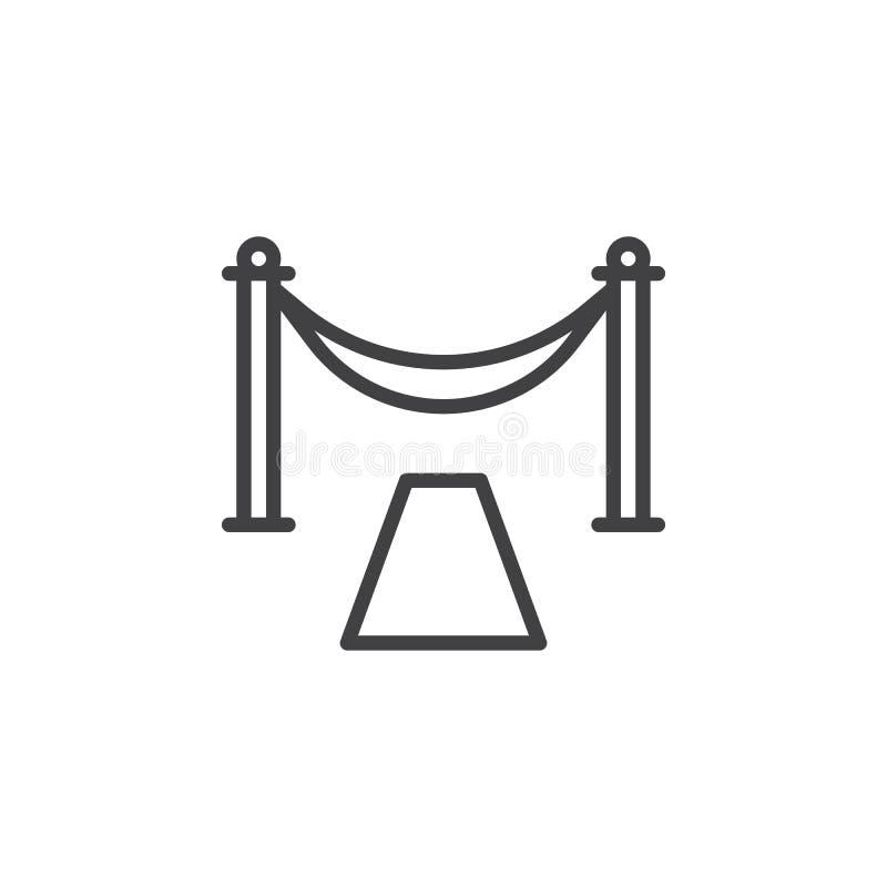 Linea icona dell'entrata del tappeto rosso illustrazione vettoriale