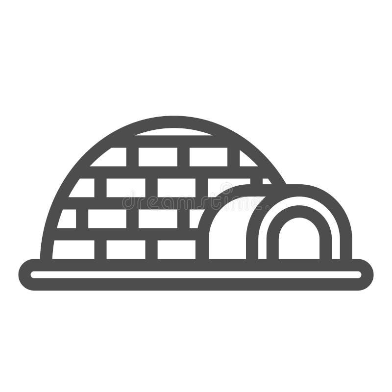 Linea icona dell'iglù Illustrazione di vettore della ghiacciaia isolata su bianco Progettazione antartica di stile del profilo, p illustrazione vettoriale