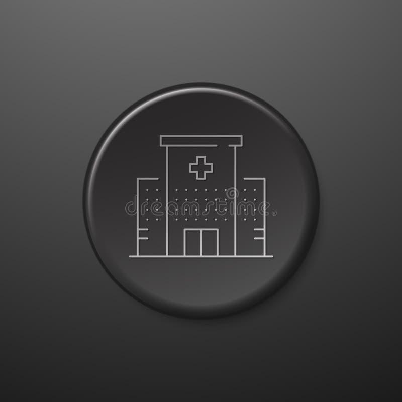 Linea icona dell'ospedale Pulsante nero royalty illustrazione gratis