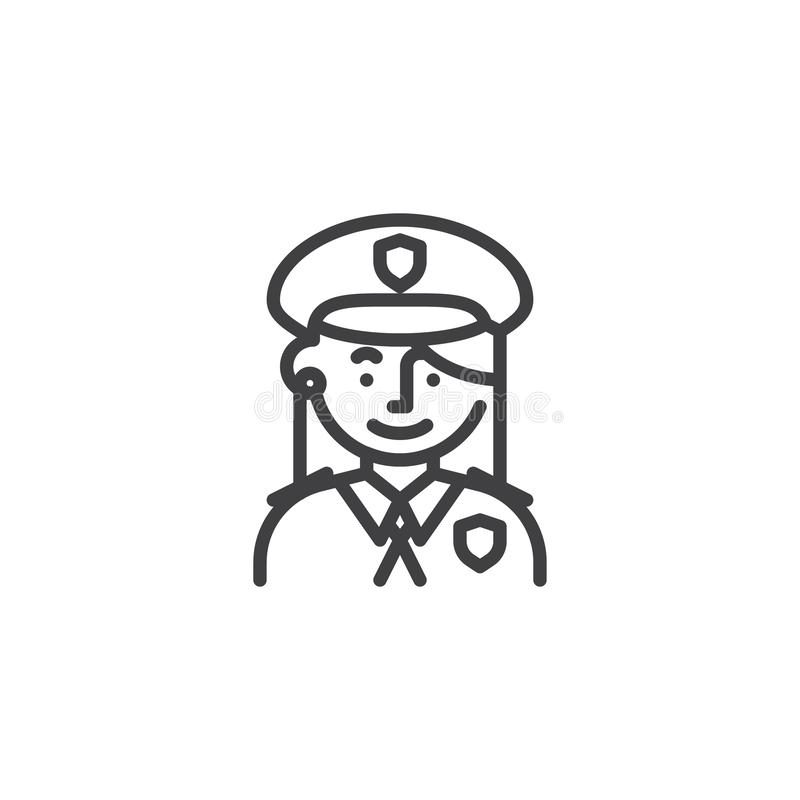 Linea icona dell'ufficiale di polizia della donna illustrazione vettoriale