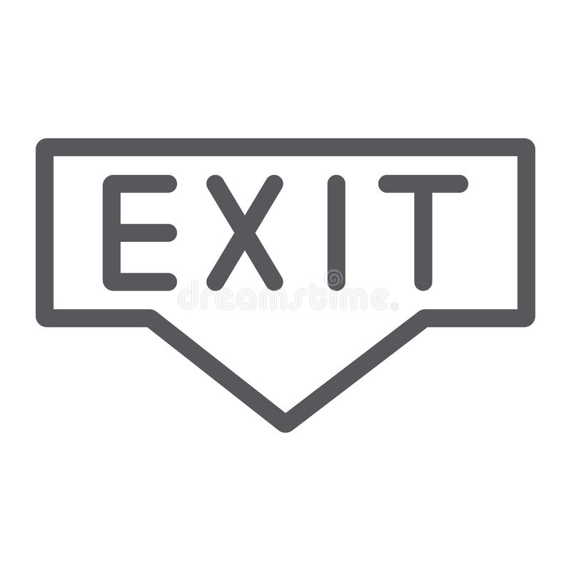 Linea icona dell'uscita, emergenza ed entrata, segno dell'evacuazione, grafica vettoriale, un modello lineare su un fondo bianco illustrazione di stock