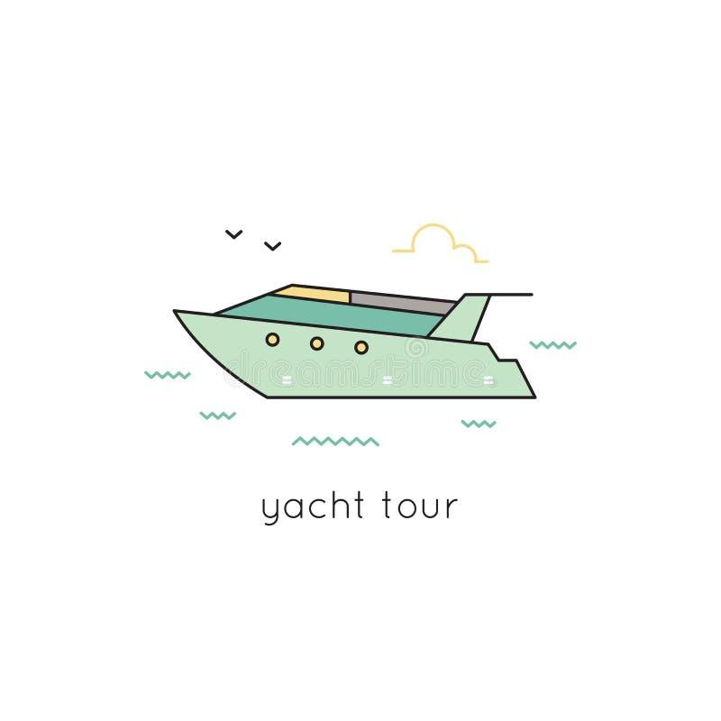 Linea icona dell'yacht illustrazione vettoriale