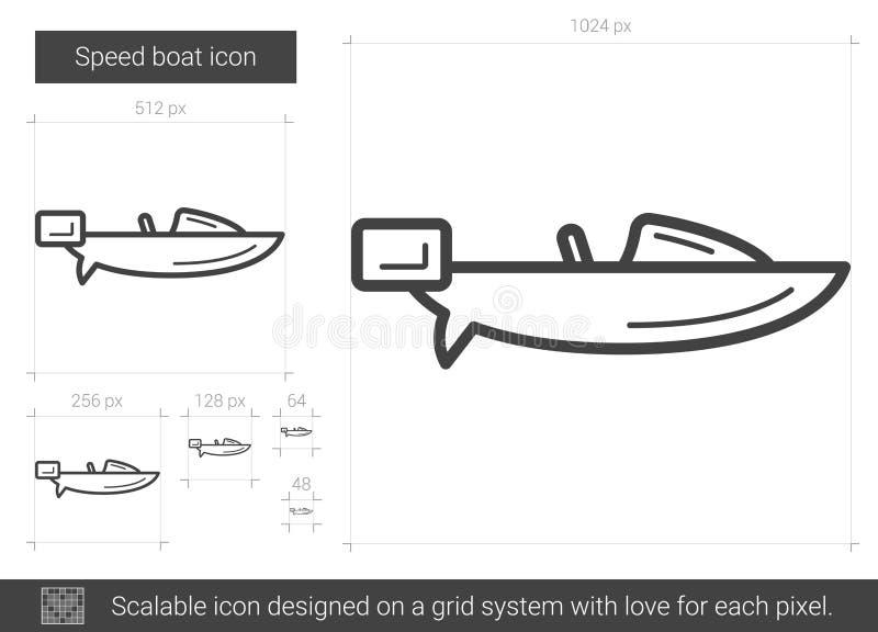 Linea icona della barca di velocità illustrazione vettoriale