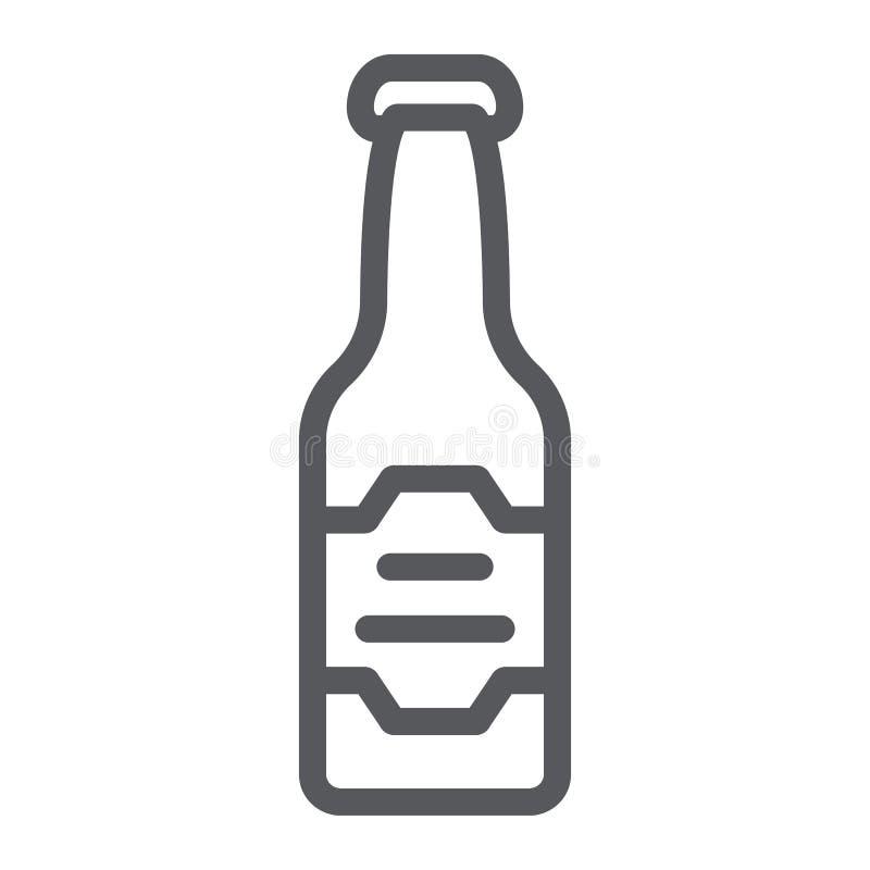 Linea icona della bottiglia di birra, bevanda ed alcool, segno della lager, grafica vettoriale, un modello lineare su un fondo bi illustrazione di stock