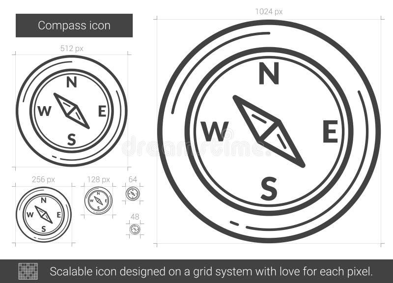 Linea icona della bussola illustrazione vettoriale