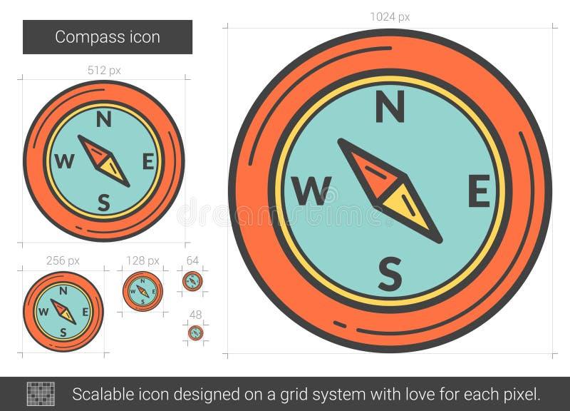 Linea icona della bussola royalty illustrazione gratis