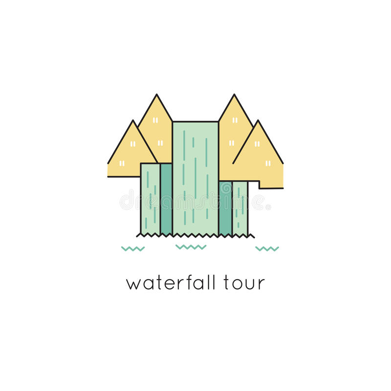 Linea icona della cascata illustrazione di stock