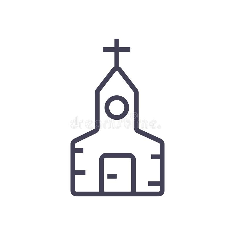 Linea icona della chiesa, linea ed icona moderna royalty illustrazione gratis
