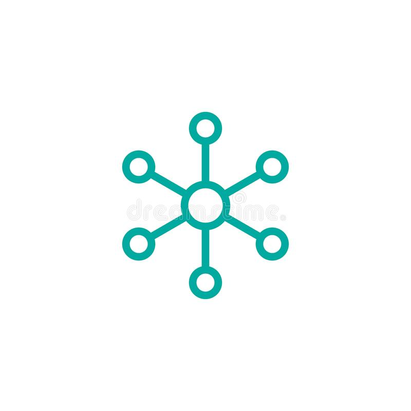 Linea icona della connessione di rete del hub isolata su bianco Logo di tecnologia o di tecnologia Bottone della base di dati cen royalty illustrazione gratis
