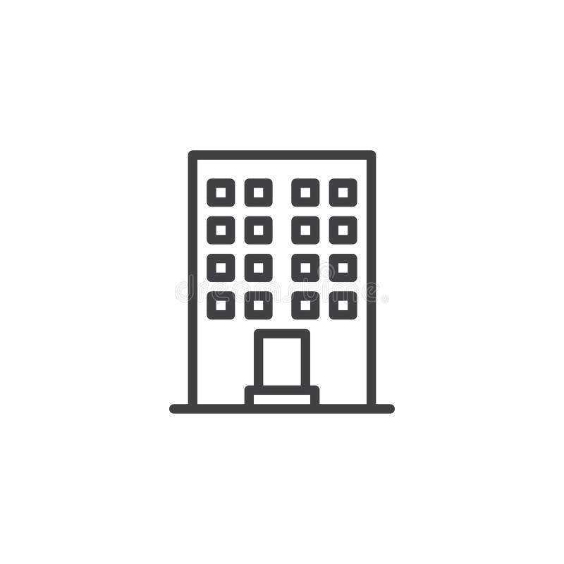 Linea icona della costruzione dell'edificio per uffici illustrazione di stock