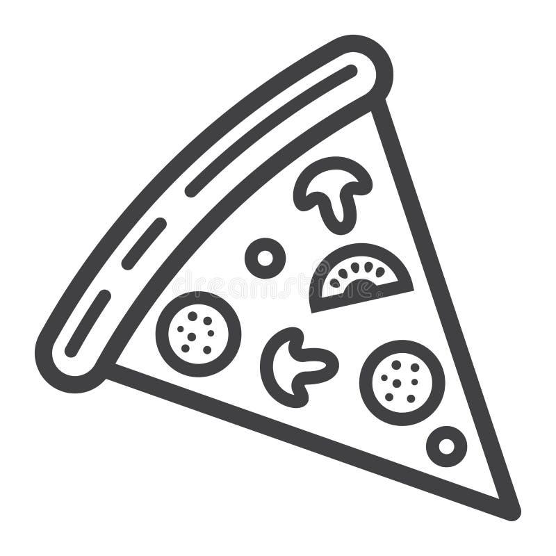 Linea icona della fetta della pizza, alimento e bevanda, alimenti a rapida preparazione illustrazione di stock