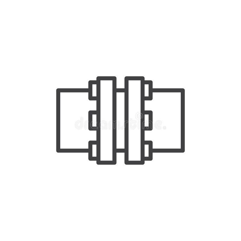 Linea icona della flangia illustrazione di stock