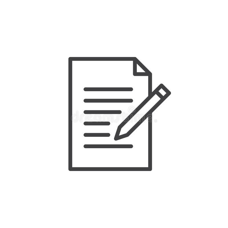 Linea icona della forma del contatto Scriva, pubblichi il segno di vettore del profilo, pittogramma lineare di stile isolato su b illustrazione vettoriale