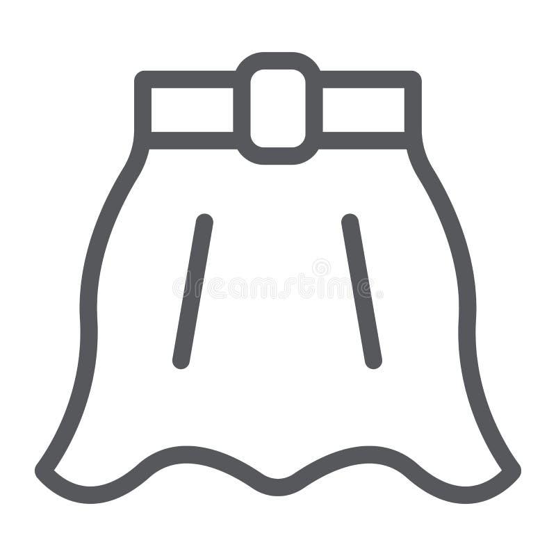 Linea icona della gonna, vestiti e femmina, segno svasato della gonna, grafica vettoriale, un modello lineare su un fondo bianco royalty illustrazione gratis