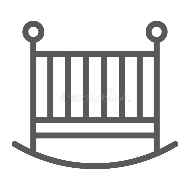 Linea icona della greppia del bambino, bambino e letto, segno della culla, grafica vettoriale, un modello lineare su un fondo bia illustrazione vettoriale