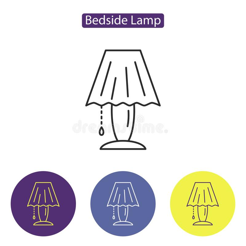 Linea icona della lampada da comodino illustrazione di stock