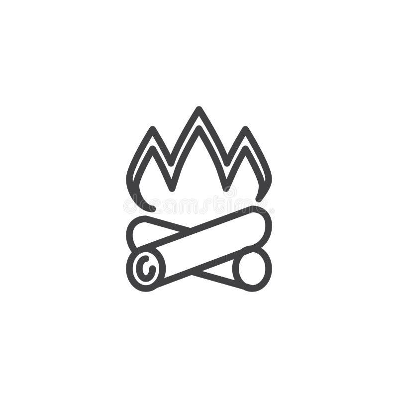 Linea icona della legna da ardere del fuoco di accampamento illustrazione di stock
