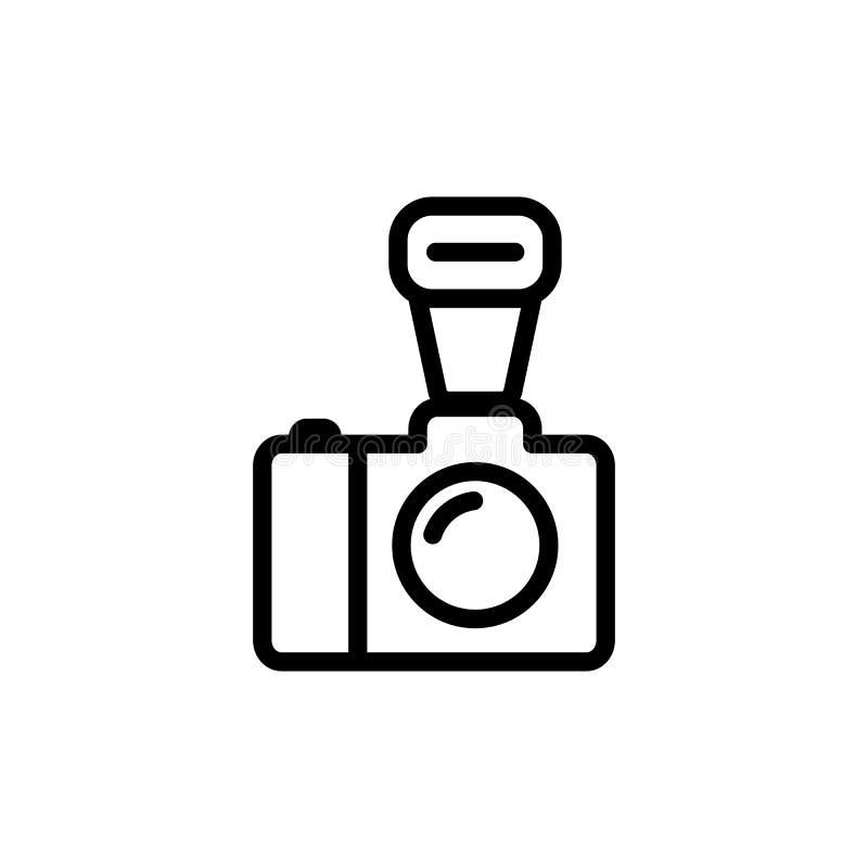 linea icona della macchina fotografica su fondo bianco illustrazione vettoriale