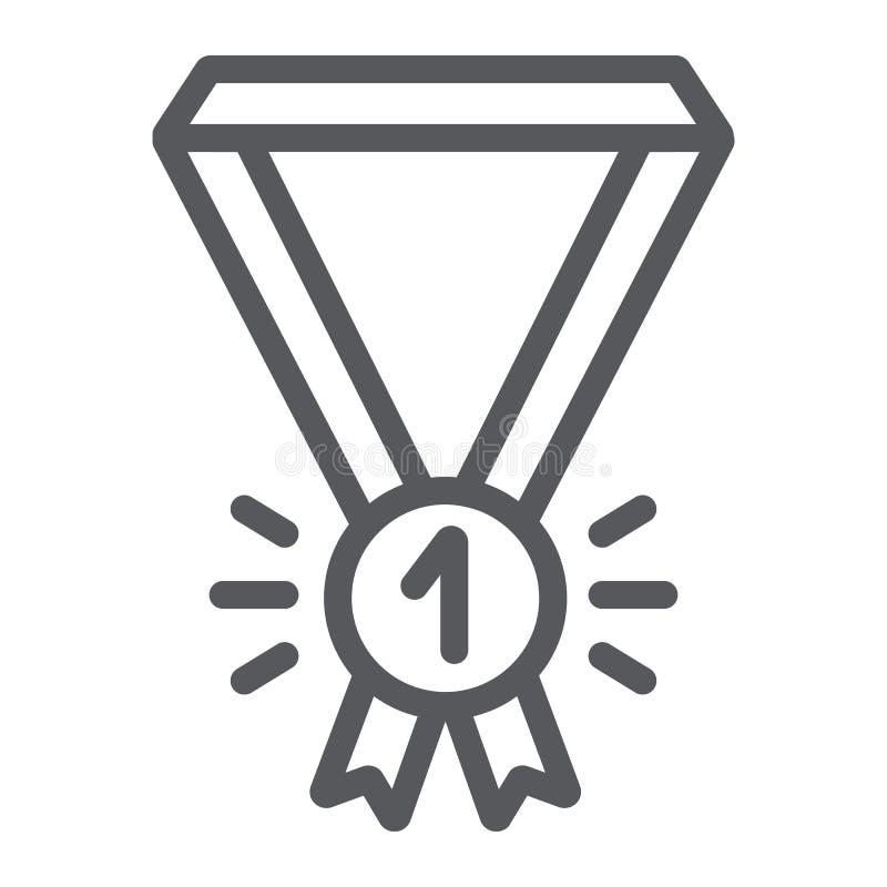 Linea icona della medaglia, distintivo e premio, segno premiato del primo posto, grafica vettoriale, un modello lineare su un fon royalty illustrazione gratis