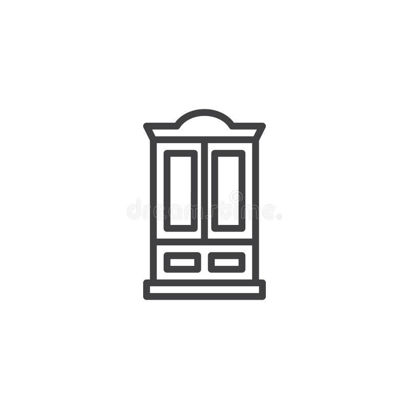 Linea icona della mobilia del guardaroba illustrazione vettoriale