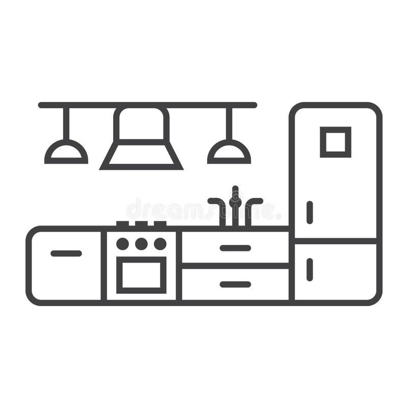 Linea icona della mobilia della cucina ed interno illustrazione di stock