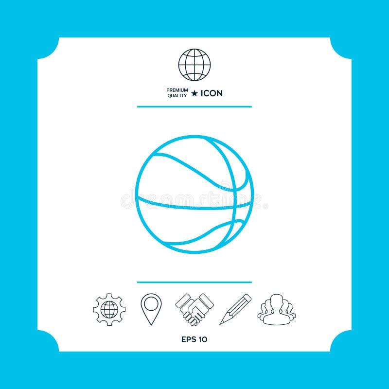 Linea icona della palla di pallacanestro illustrazione di stock