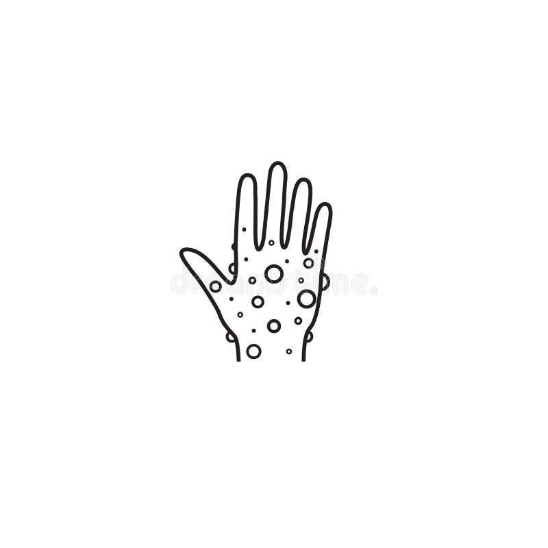 Linea icona della pelle della mano dell'eczema segno lineare di stile per il concetto ed il web design mobili Mano impetuosa, pro illustrazione di stock