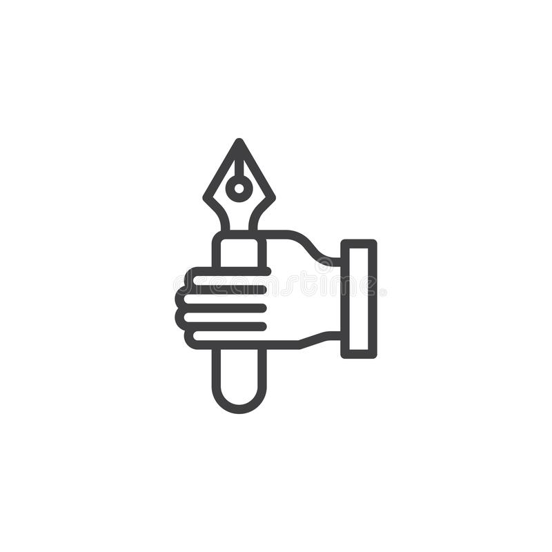 Linea icona della penna stilografica della tenuta della mano illustrazione di stock