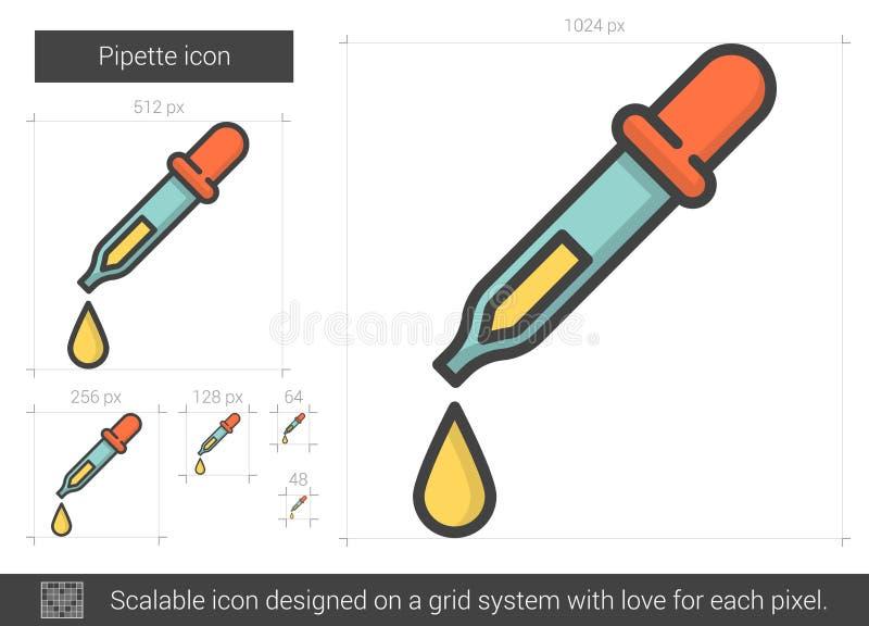 Linea icona della pipetta illustrazione vettoriale