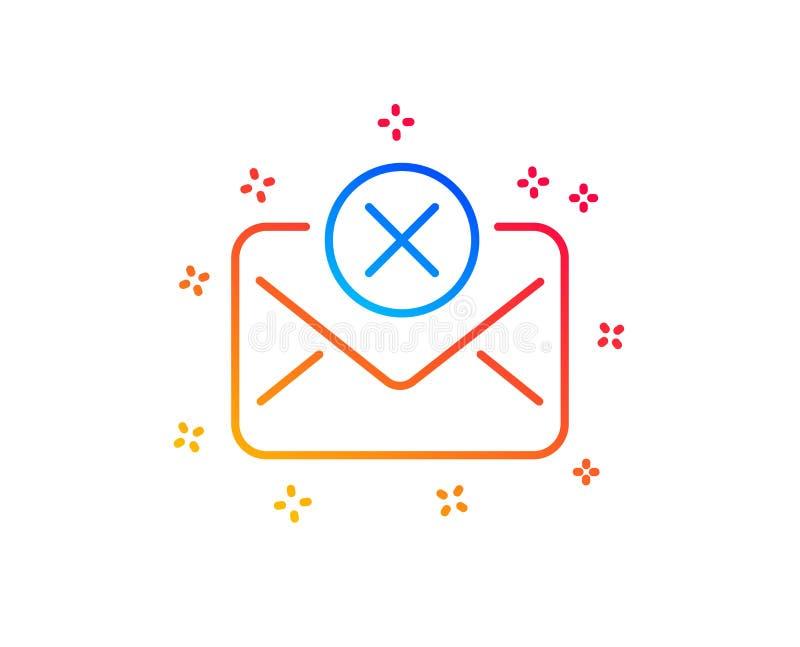 Linea icona della posta di scarto Segno del messaggio di cancellazione Vettore illustrazione di stock