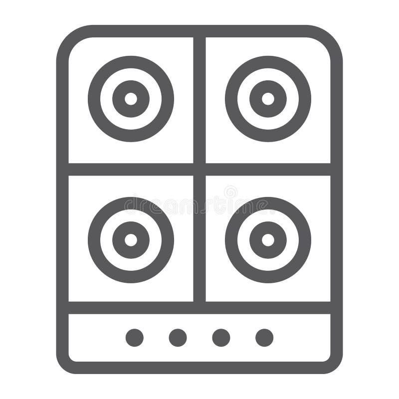 Linea icona della stufa, cucina e fornello, segno elettrico della piastra riscaldante, grafica vettoriale, un modello lineare su  royalty illustrazione gratis