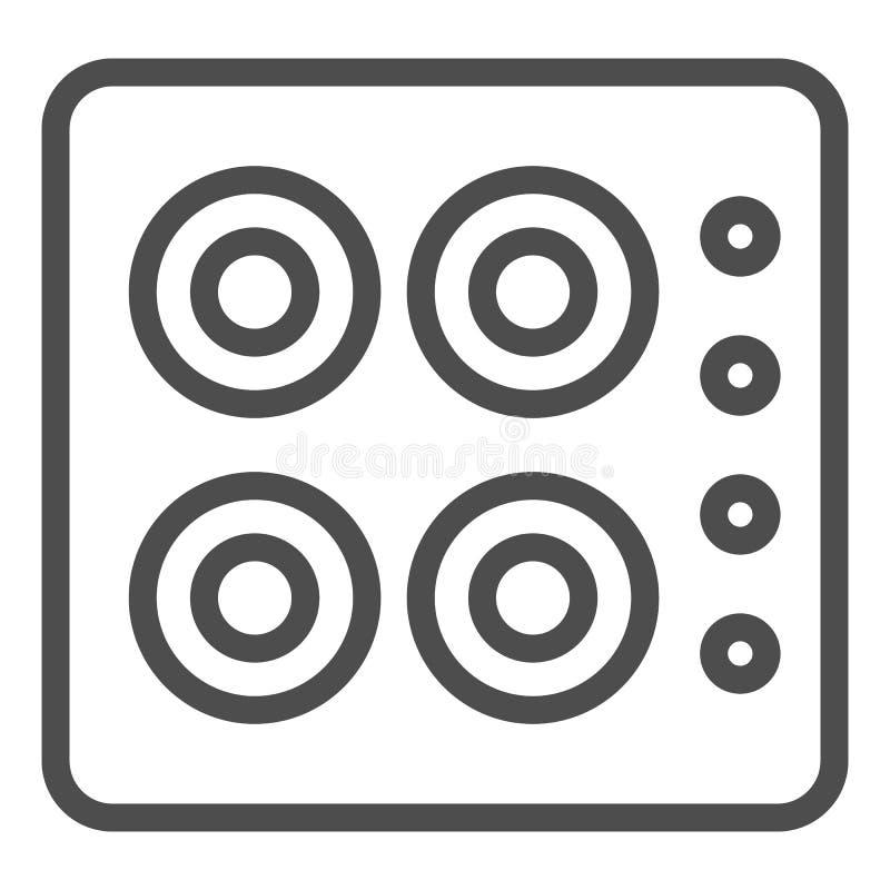 linea icona della stufa Illustrazione di vettore del fornello isolata su bianco Progettazione di stile del profilo del forno, pro illustrazione vettoriale