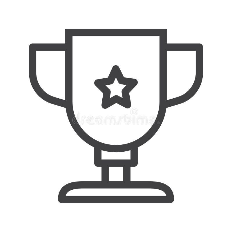 Linea icona della tazza del premio del trofeo illustrazione vettoriale