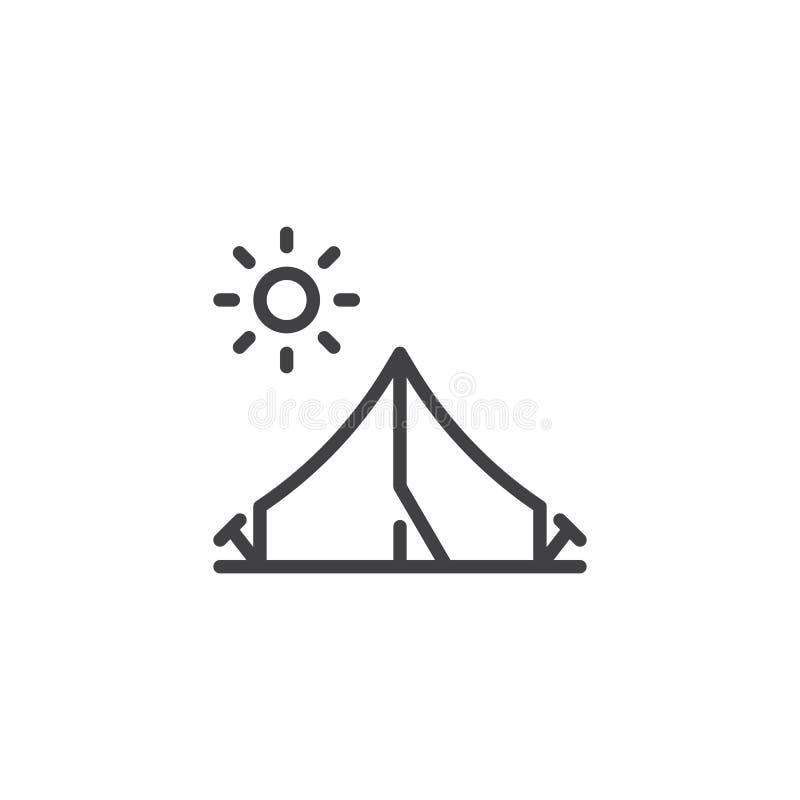 Linea icona della tenda e del sole di campeggio royalty illustrazione gratis