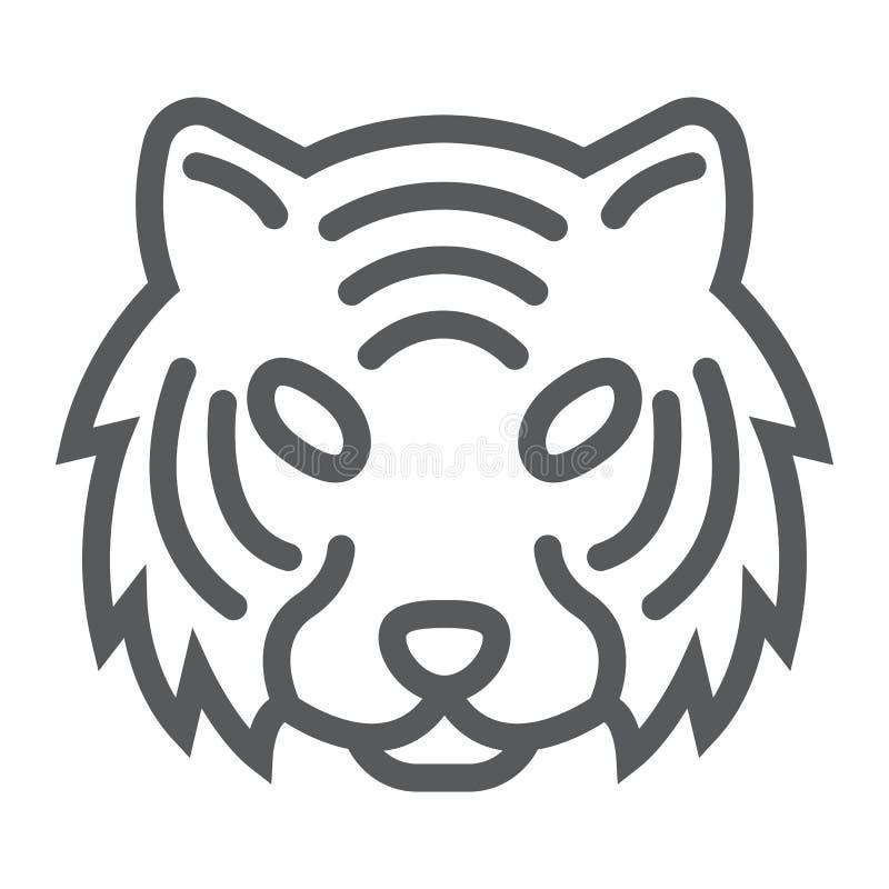 Linea icona della tigre, animale e zoo, segno del gatto illustrazione di stock