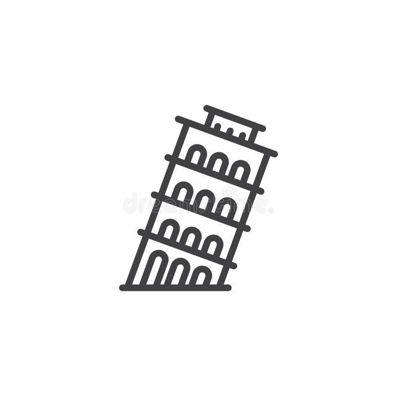 Linea icona della torre di Pisa illustrazione di stock