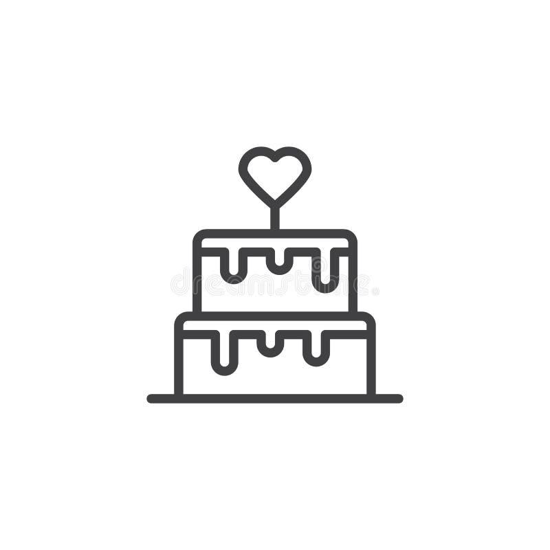 Linea icona della torta nunziale illustrazione vettoriale