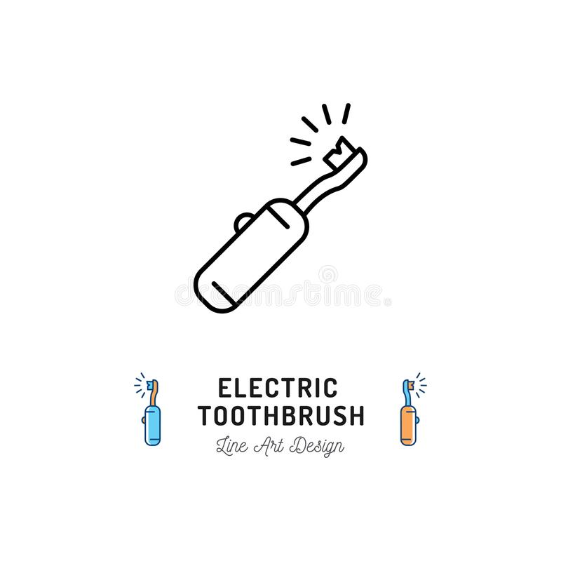 Linea icona dello spazzolino da denti elettrico Cure odontoiatriche, igiene orale, pulizia dei denti Illustrazione di vettore illustrazione vettoriale