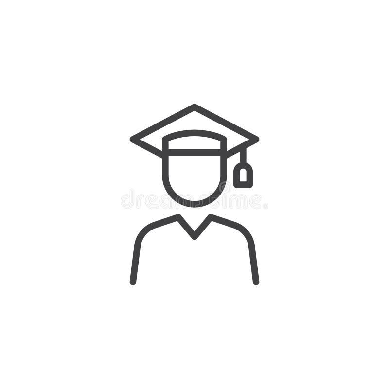 Linea icona dello studente graduato royalty illustrazione gratis