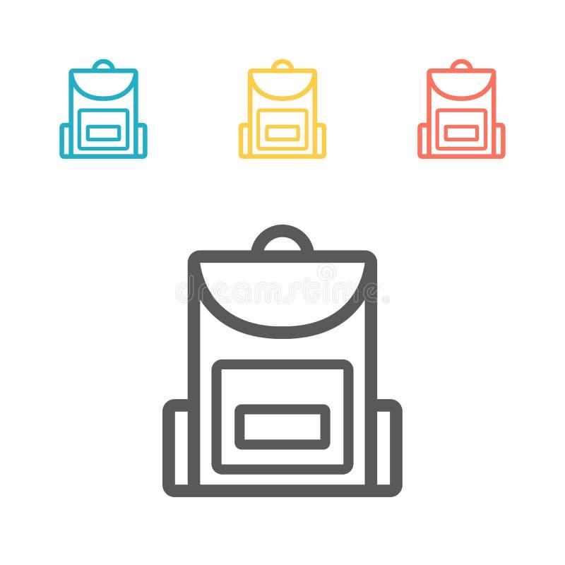 Linea icona dello zaino Segni di vettore per i grafici di web illustrazione di stock