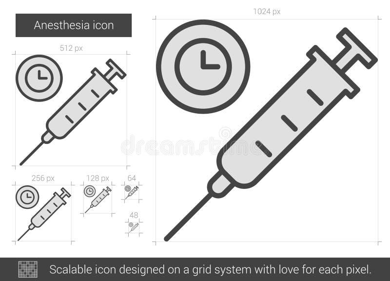 Linea icona di anestesia illustrazione vettoriale