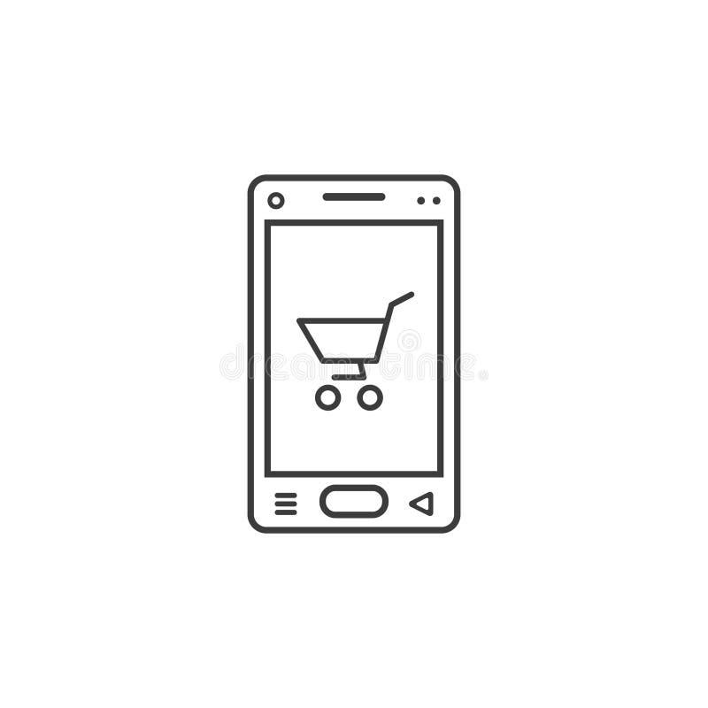 Linea icona di arte del telefono cellulare con un segno del carrello illustrazione vettoriale