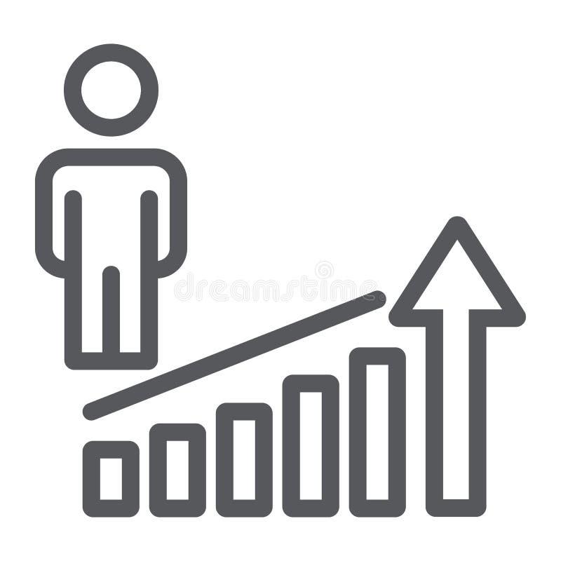 Linea icona di aumento di carriera, lavoro e progresso, segno di successo della persona, grafica vettoriale, un modello lineare s illustrazione vettoriale
