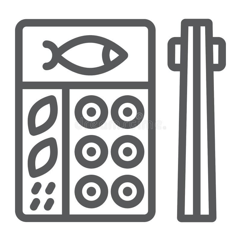 Linea icona di bento, asiatico ed alimento, segno giapponese della scatola di pranzo, grafica vettoriale, un modello lineare su u illustrazione vettoriale