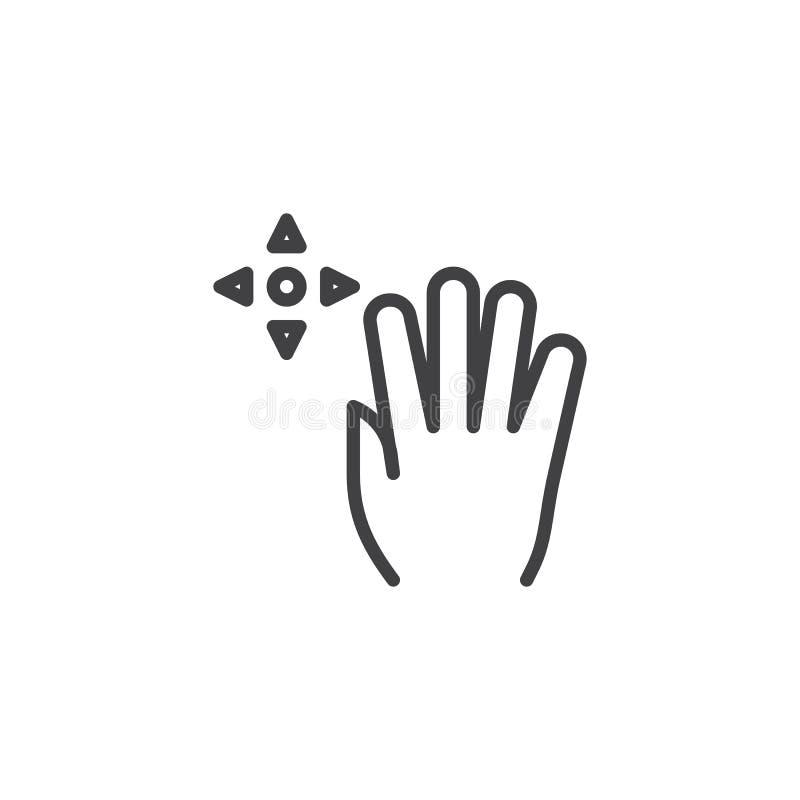 linea icona di colpo di frusta di resistenza 4x illustrazione vettoriale