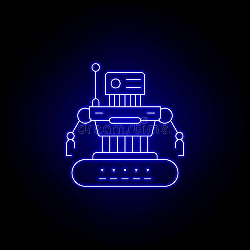 linea icona di combattimento del robot nello stile al neon blu I segni ed i simboli possono essere usati per il web, logo, app mo royalty illustrazione gratis