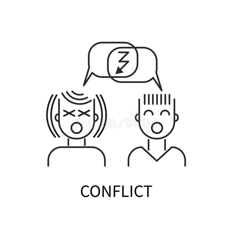 Linea icona di conflitto royalty illustrazione gratis